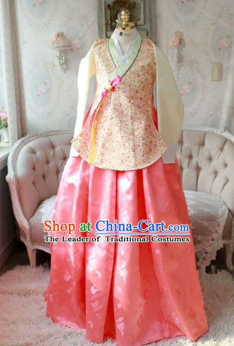 Korean National Handmade Formal Occasions Bride Clothing Hanbok Costume Embroidered Yellow Blouse and Pink Dress for Women