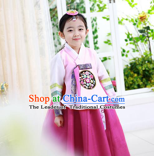 Korean National Handmade Formal Occasions Girls Hanbok Costume Embroidered Pink Blouse and Red Dress for Kids