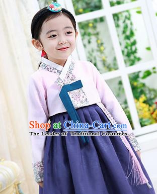 Korean National Handmade Formal Occasions Girls Hanbok Costume Embroidered Pink Blouse and Navy Dress for Kids
