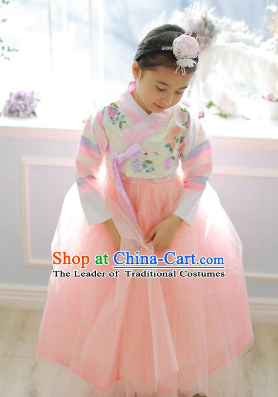 Korean National Handmade Formal Occasions Girls Hanbok Costume Embroidered White Blouse and Pink Veil Dress for Kids