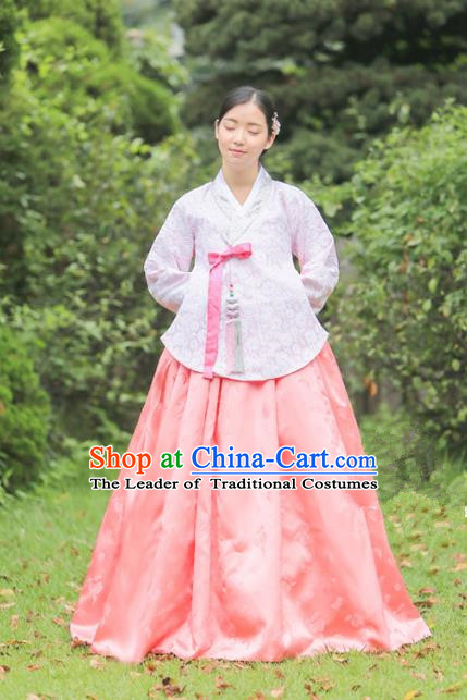 Korean National Handmade Formal Occasions Bride Clothing Hanbok Costume Embroidered Purple Blouse and Pink Dress for Women
