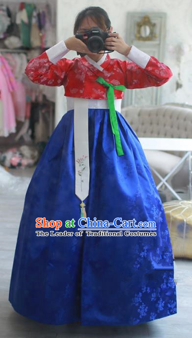 Korean National Handmade Formal Occasions Bride Clothing Hanbok Costume Embroidered Red Blouse and Blue Dress for Women