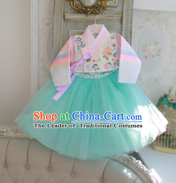 Korean National Handmade Formal Occasions Girls Hanbok Costume Embroidered White Blouse and Green Veil Dress for Kids