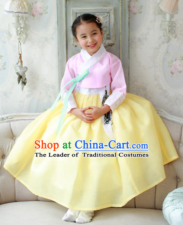 Korean National Handmade Formal Occasions Girls Hanbok Costume Embroidered Pink Blouse and Yellow Dress for Kids
