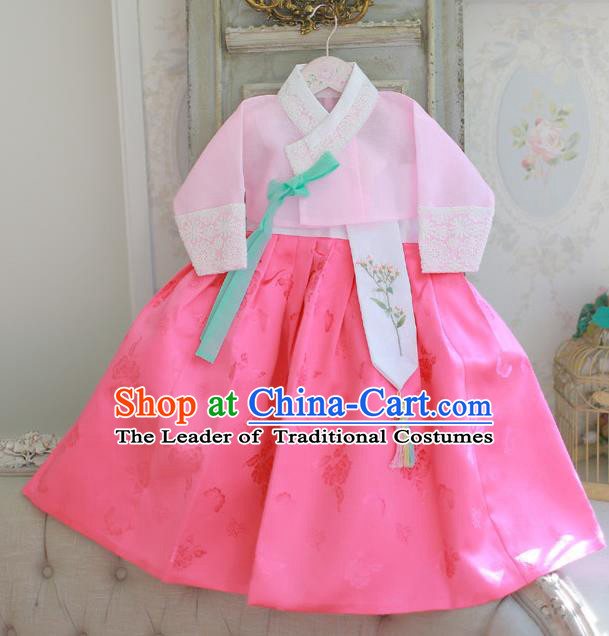 Korean National Handmade Formal Occasions Girls Hanbok Costume Embroidered Pink Blouse and Dress for Kids