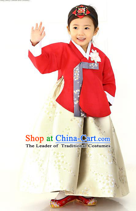 Korean National Handmade Formal Occasions Girls Hanbok Costume Embroidered Red Blouse and Yellow Dress for Kids