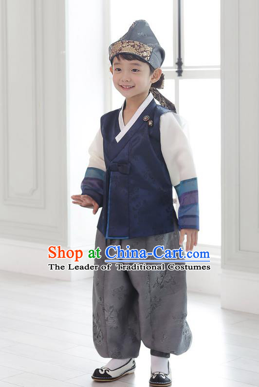 Asian Korean National Traditional Handmade Formal Occasions Boys Embroidery Dark Blue Vest Hanbok Costume Complete Set for Kids
