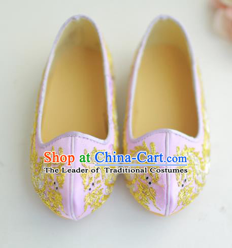 Traditional Korean National Wedding Shoes Pink Embroidered Shoes, Asian Korean Hanbok Flat Shoes for Kids