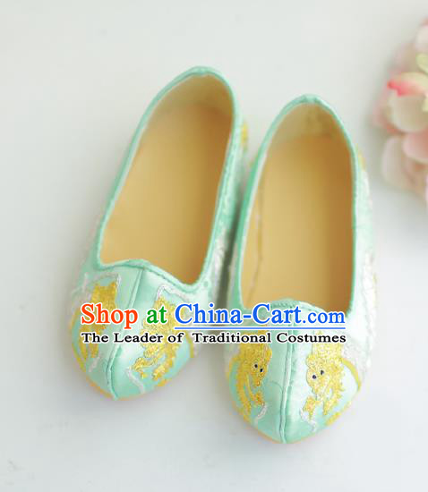 Traditional Korean National Wedding Shoes Blue Embroidered Shoes, Asian Korean Hanbok Flat Shoes for Kids