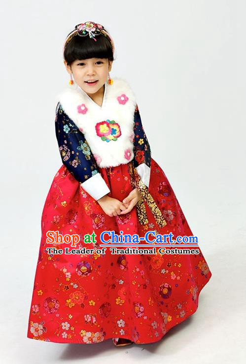Korean National Handmade Formal Occasions Girls Hanbok Costume Embroidered White Vest and Red Dress for Kids