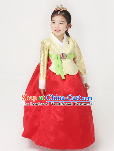 Asian Korean National Handmade Formal Occasions Wedding Girls Clothing Embroidered Yellow Blouse and Red Dress Palace Hanbok Costume for Kids