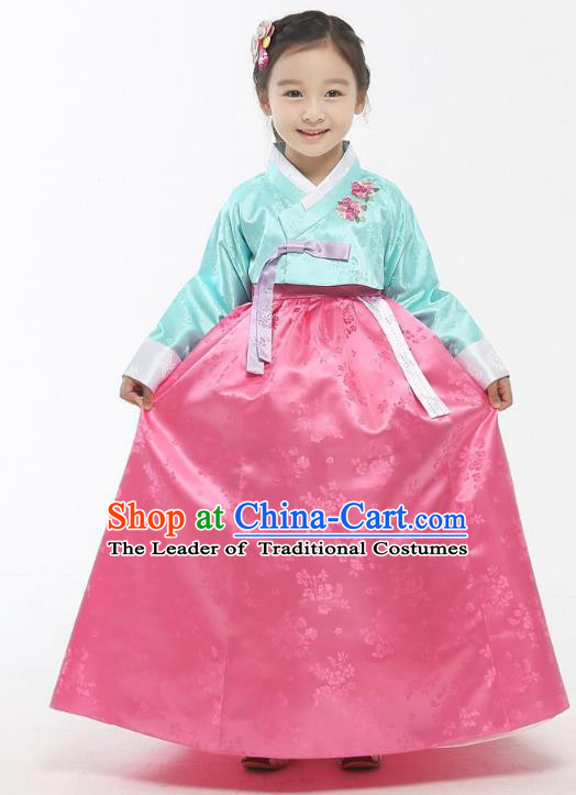 Asian Korean National Handmade Formal Occasions Wedding Girls Clothing Embroidered Green Blouse and Pink Dress Palace Hanbok Costume for Kids