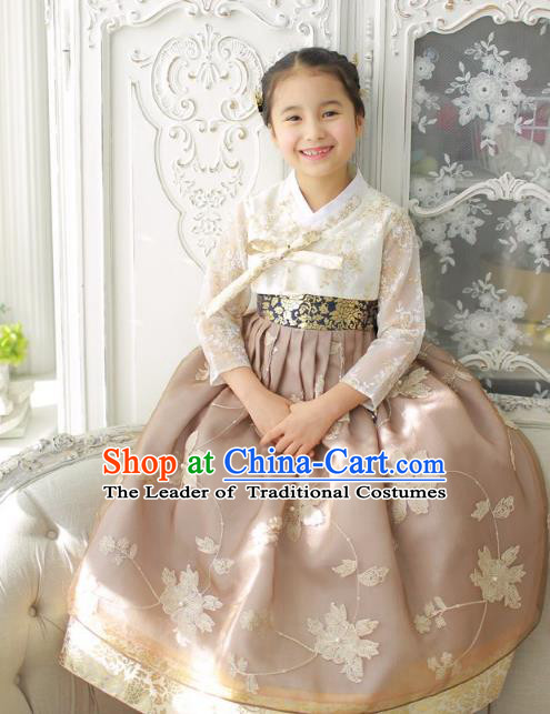 Asian Korean National Handmade Formal Occasions Wedding Girls Clothing Embroidered White Blouse and Wheat Dress Palace Hanbok Costume for Kids