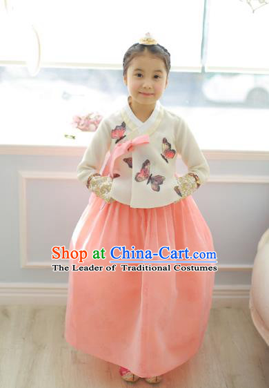 Asian Korean National Handmade Formal Occasions Wedding Girls Clothing Printing Butterfly Blouse and Pink Dress Palace Hanbok Costume for Kids