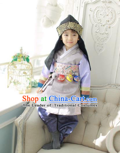 Asian Korean National Traditional Handmade Formal Occasions Boys Embroidery Grey Vest Prince Hanbok Costume Complete Set for Kids