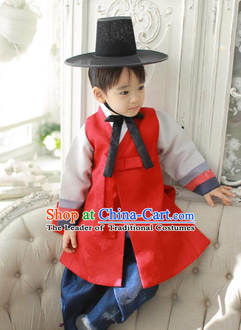 Asian Korean National Traditional Handmade Formal Occasions Boys Embroidery Red Vest Prince Hanbok Costume Complete Set for Kids
