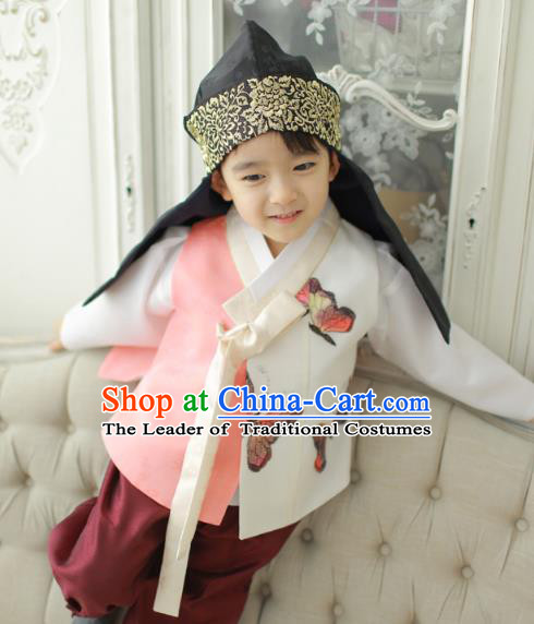 Asian Korean National Traditional Handmade Formal Occasions Boys Embroidery Printing Butterfly Vest Prince Hanbok Costume Complete Set for Kids