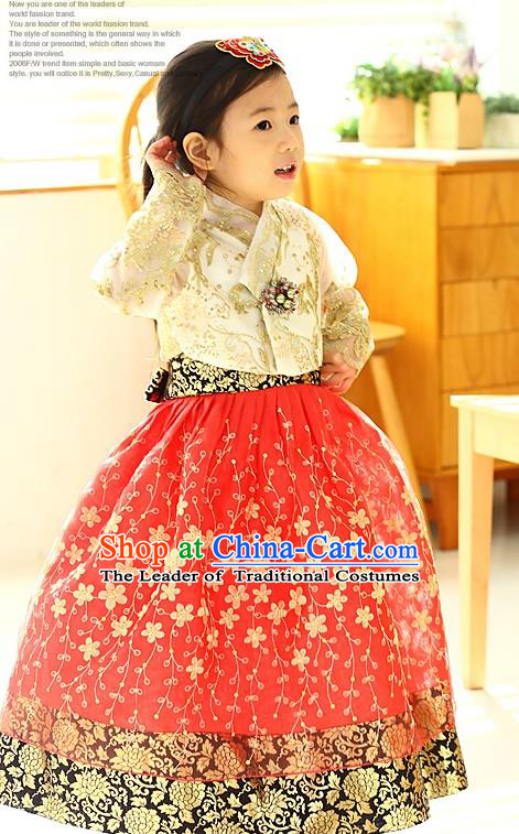 Korean National Handmade Formal Occasions Girls Hanbok Costume Embroidered Yellow Lace Blouse and Red Dress for Kids