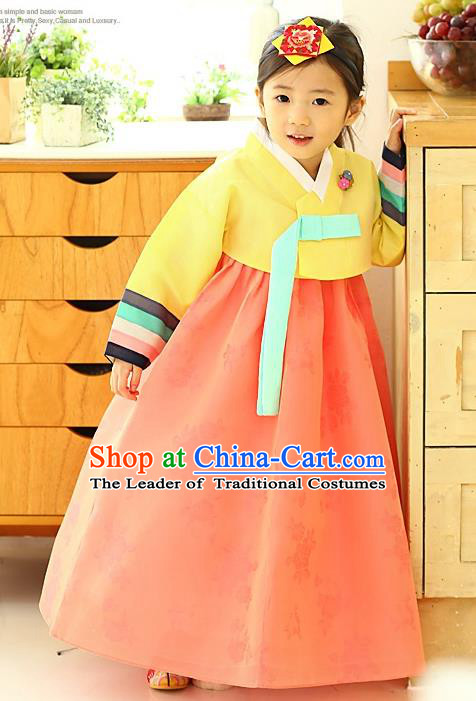 Asian Korean National Handmade Formal Occasions Wedding Girls Clothing Yellow Blouse and Pink Dress Palace Hanbok Costume for Kids