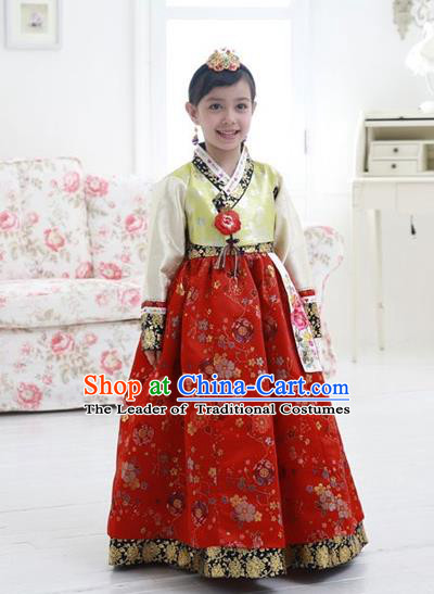Asian Korean National Handmade Formal Occasions Wedding Girls Clothing Embroidered Green Blouse and Red Dress Palace Hanbok Costume for Kids