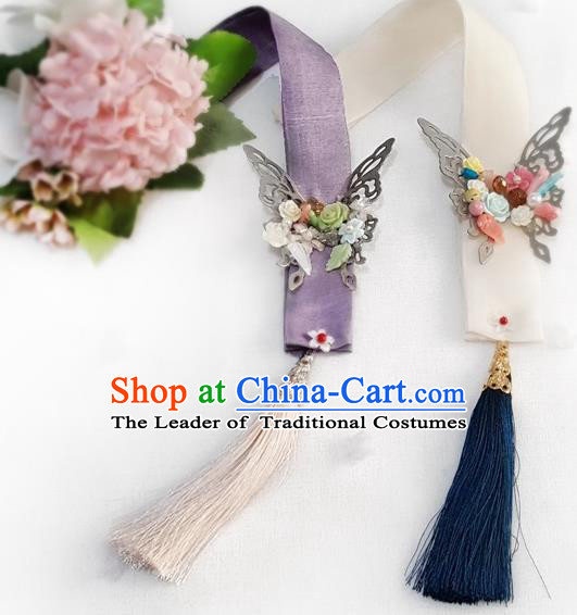 Asian Korean Hanbok Tassel Butterfly Waist Decorations, Korean National Belts Accessories Wedding Bride Waist Pendant for Women