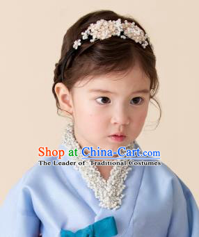 Korean National Hair Accessories Pearls Hair Clasp Headband, Asian Korean Hanbok Fashion Bride Headwear for Kids