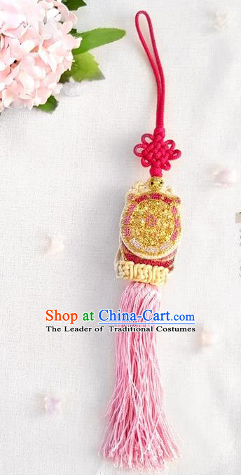 Asian Korean Hanbok Pink Tassel Chinese Knot Waist Decorations, Korean National Belts Accessories Wedding Bride Waist Pendant for Women