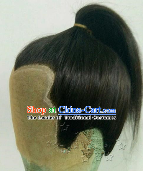 Chinese Ancient Opera Swordsman Wig, Traditional Chinese Beijing Opera Taoist Priest Wig Sheath for Men