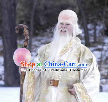 Chinese Ancient Opera Old Men God of Longevity Beard Eyebrows Complete Set, Traditional Chinese Beijing Opera Taoist Priest White Mustache for Men
