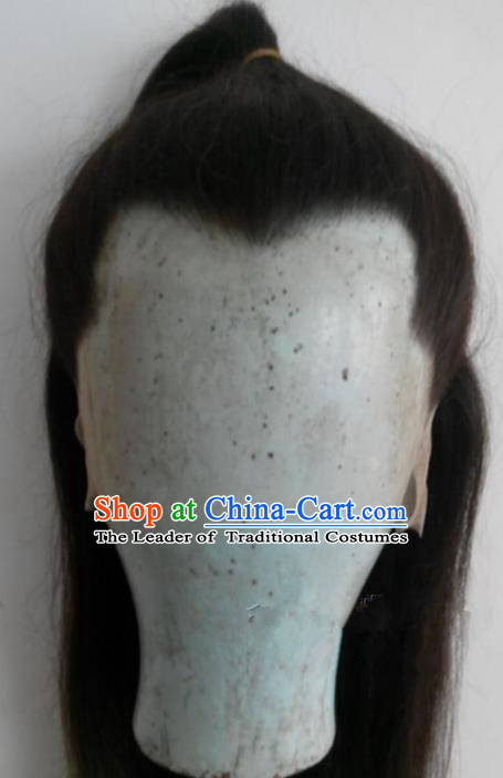 Chinese Ancient Opera Swordsman Young Men Wig, Traditional Chinese Beijing Opera Prince Wig Sheath for Men