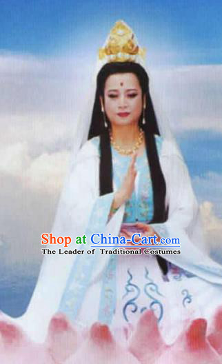 Chinese Ancient Journey to the West Goddess of Mercy Wig, Traditional Chinese Beijing Opera Taoist Nun Wig Sheath