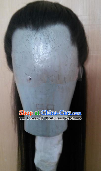 Chinese Ancient Opera Swordsman Young Men Wig, Traditional Chinese Beijing Opera Kawaler Taoist Priest Wig Sheath for Men