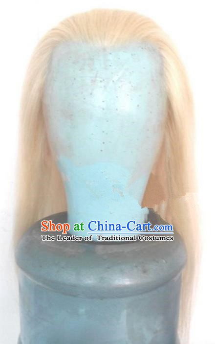 Chinese Ancient Opera Swordsman Old Men White Wig, Traditional Chinese Beijing Opera Taoist Priest Wig Sheath for Men