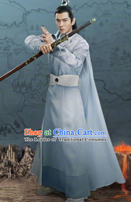 Traditional Chinese Legend Of Fu Yao Swordsman Clothing, China Ancient Nobility Kawaler Embroidered Costume for Men