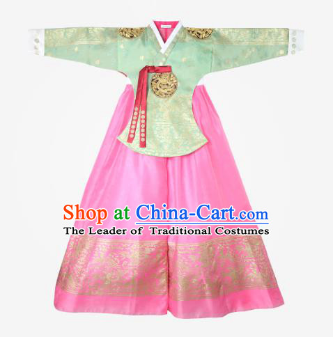 Top Grade Korean National Handmade Wedding Clothing Palace Bride Hanbok Costume Embroidered Green Blouse and Pink Dress for Women