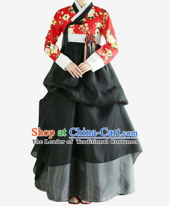 Top Grade Korean National Handmade Wedding Clothing Palace Bride Hanbok Costume Embroidered Red Blouse and Black Dress for Women