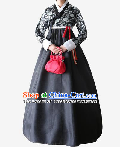 Top Grade Korean National Handmade Wedding Clothing Palace Bride Hanbok Costume Embroidered Black Blouse and Dress for Women