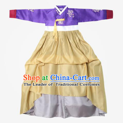 Top Grade Korean National Handmade Wedding Clothing Palace Bride Hanbok Costume Embroidered Purple Blouse and Yellow Dress for Women