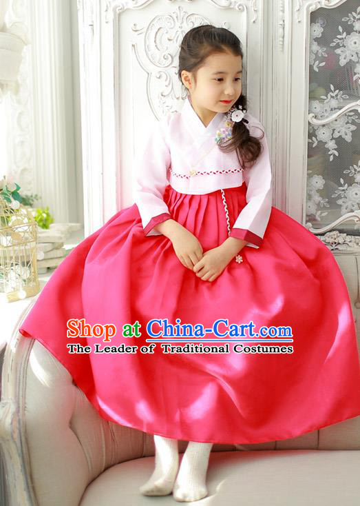 Korean National Handmade Formal Occasions Girls Clothing Palace Hanbok Costume Embroidered Pink Blouse and Red Dress for Kids