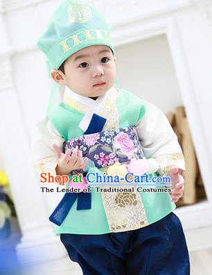 Asian Korean National Traditional Handmade Formal Occasions Boys Embroidery Green Vest Hanbok Costume Complete Set for Kids