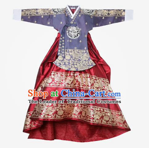 Top Grade Korean National Handmade Wedding Clothing Palace Bride Hanbok Costume Embroidered Purple Blouse and Red Dress for Women