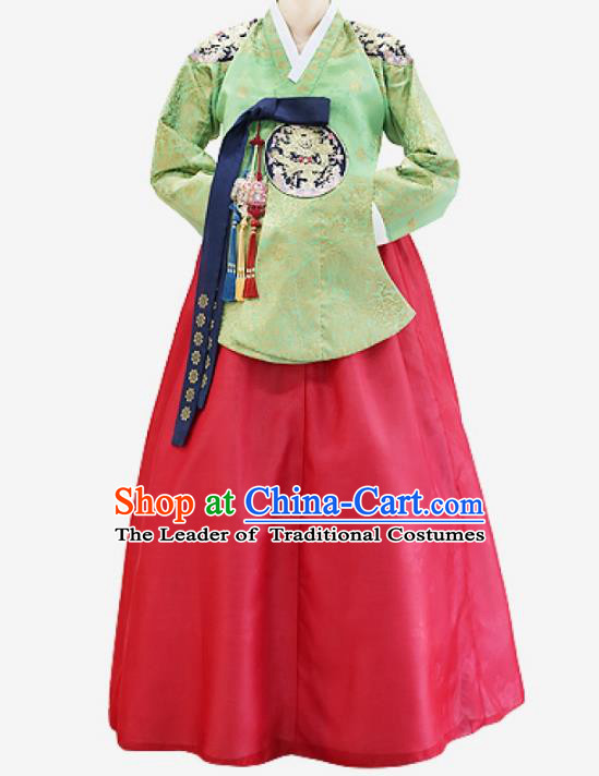 Top Grade Korean National Handmade Wedding Clothing Palace Bride Hanbok Costume Embroidered Green Blouse and Red Dress for Women