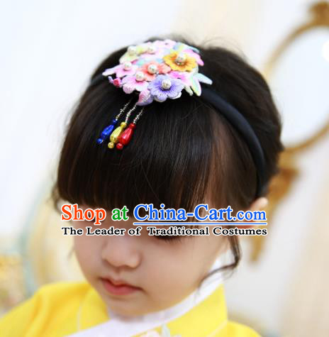 Korean National Hair Accessories Wedding Bride Embroidered Hair Clasp, Asian Korean Hanbok Headband Headwear for Kids