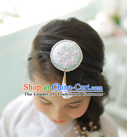 Korean National Hair Accessories Wedding Bride Embroidered Tassel Blue Hair Clasp, Asian Korean Hanbok Headband Headwear for Kids
