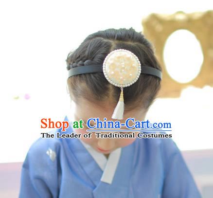Korean National Hair Accessories Wedding Bride Embroidered Tassel Yellow Hair Clasp, Asian Korean Hanbok Headband Headwear for Kids