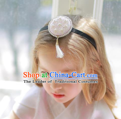 Korean National Hair Accessories Wedding Bride Embroidered Tassel Pink Hair Clasp, Asian Korean Hanbok Headband Headwear for Kids