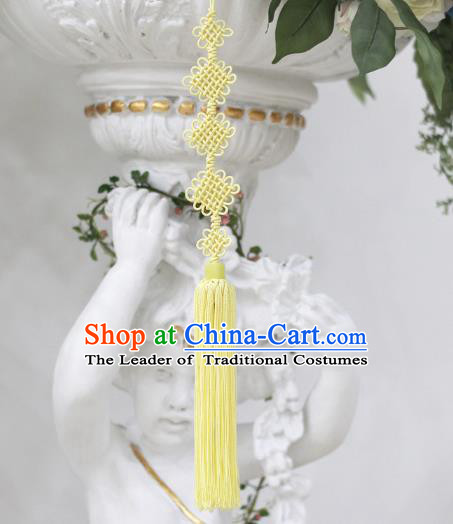 Asian Korean Hanbok Yellow Chinese Knot Tassel Waist Decorations, Korean National Belts Accessories Wedding Bride Waist Pendant for Women