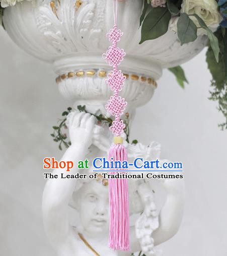 Asian Korean Hanbok Pink Chinese Knot Tassel Waist Decorations, Korean National Belts Accessories Wedding Bride Waist Pendant for Women