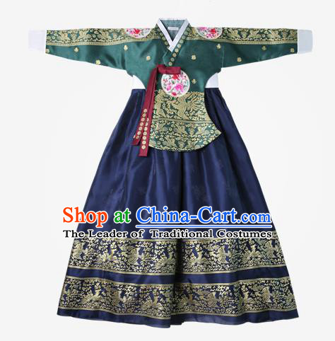 Top Grade Korean National Handmade Wedding Clothing Palace Bride Hanbok Costume Embroidered Green Blouse and Navy Dress for Women