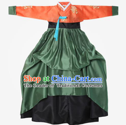 Top Grade Korean National Handmade Wedding Clothing Palace Bride Hanbok Costume Embroidered Orange Blouse and Green Dress for Women